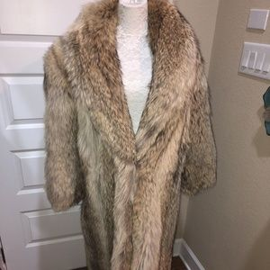 Jackets & Blazers - Long Coyote Fur Coat with a Huge Collar by Sterdu